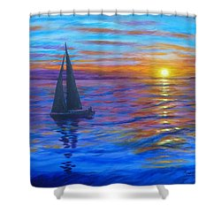 Shower Curtain featuring the painting Sunset Sail by Amelie Simmons