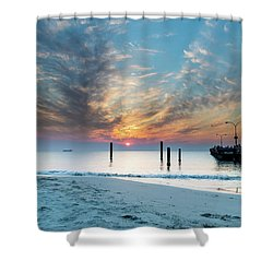 Sunset Seascape And Beautiful Clouds Shower Curtain