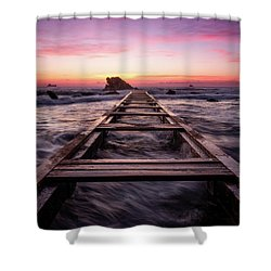 Sunset Shining Over A Wooden Pier In Livorno, Tuscany Shower Curtain