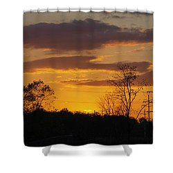 Sunset With Electricity Pylon Shower Curtain