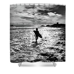 Shower Curtain featuring the photograph Surfer Silhouette by John Rodrigues