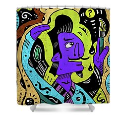 Shower Curtain featuring the digital art Surreal Painter by Sotuland Art