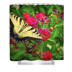 Swallowtail Among Flowers Shower Curtain