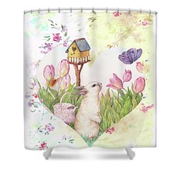 Sweet Heart Bunny And Butterfly Shower Curtain