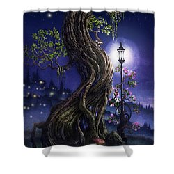 Sylvia And Her Lamp At Dusk Shower Curtain