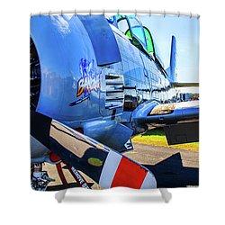 Shower Curtain featuring the photograph T-28b Trojan Banshee  by Doug Camara