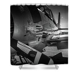 Shower Curtain featuring the photograph T-28b Trojan In Bw by Doug Camara