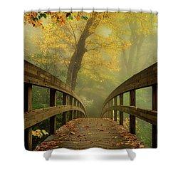 Tanawha Trail Blue Ridge Parkway - Foggy Autumn Shower Curtain