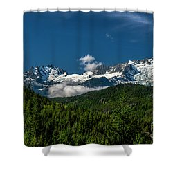 Shower Curtain featuring the photograph Tantalus Mountain Range by Jon Burch Photography