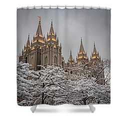 Temple In The Snow Shower Curtain