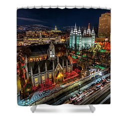 Temple Square Lights Shower Curtain