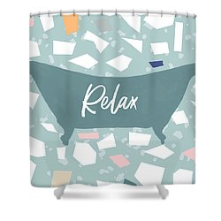 Shower Curtain featuring the mixed media Terrazzo Bath Relax- Art By Linda Woods by Linda Woods