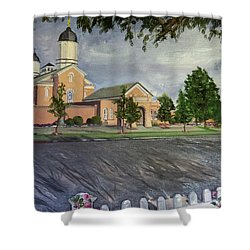 Thank Thee For The Church And The Temple  Vernal Utah Temple Shower Curtain