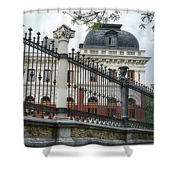 The Back Of The Ministry Of Agriculture Building In Madrid Shower Curtain
