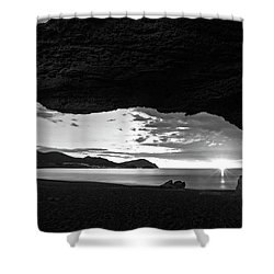 The Beach Of The Sculptures At Dawn In Almeria Shower Curtain