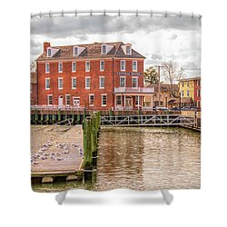 Shower Curtain featuring the photograph The Central Hotel - Delaware City by Kristia Adams