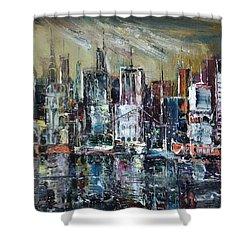 The City Awakens Shower Curtain