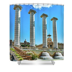 Shower Curtain featuring the photograph The Four Columns And The National Art Museum In Barcelona by Eduardo Jose Accorinti