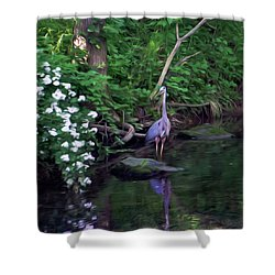 The Great Blue Heron - Impressionism Shower Curtain