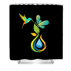 The Kissing Flower And The Butterfly On Flower Bud Shower Curtain