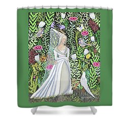 The Lady Vanity Takes A Break From Mirroring To Dream Of An Unusual Garden  Shower Curtain