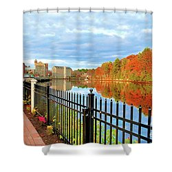 Shower Curtain featuring the photograph The Lamprey River by Debbie Stahre