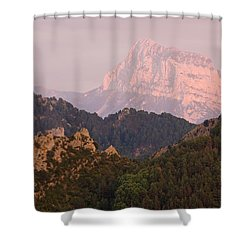 Shower Curtain featuring the photograph The Last Of The Light At Pena Montanesa by Stephen Taylor