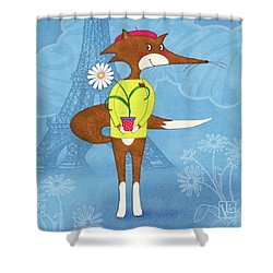 The Letter F For French Fox Shower Curtain