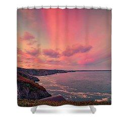 The Lizard Point Sunset Shower Curtain