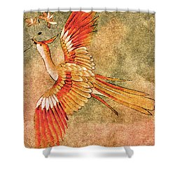 The Peahen's Gift - Kimono Series Shower Curtain