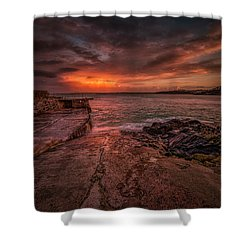 The Pier Sunset Shower Curtain