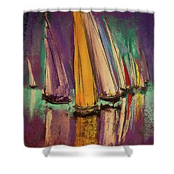 Shower Curtain featuring the pastel The Race by David Patterson