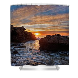 The Sea In Oropesa At Sunrise On The Orange Blossom Coast Shower Curtain