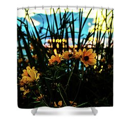 The Sunflower's Sunset Shower Curtain