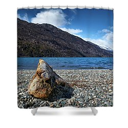 The Trunk, The Lake And The Mountainous Landscape Shower Curtain