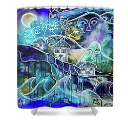 Three Houses On A Cliff Shower Curtain