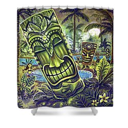 Tiki Genie's Sacred Pools Shower Curtain
