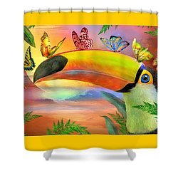 Shower Curtain featuring the mixed media Toucan And Butterflies by Carol Cavalaris