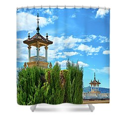 Shower Curtain featuring the photograph Towers And Blue Sky From Montjuic In Barcelona by Eduardo Jose Accorinti