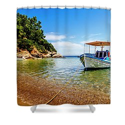 Traditional Colorful Boats In Old Town Of Skiathos Island, Spora Shower Curtain