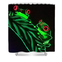 Shower Curtain featuring the painting Tree Frogs  by Jennah Lenae