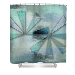 Triangles On Blue Grey Backdrop Shower Curtain