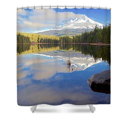 Trillium Lake Morning Reflections Shower Curtain