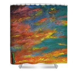 Triptych 1 Desert Sunset Shower Curtain