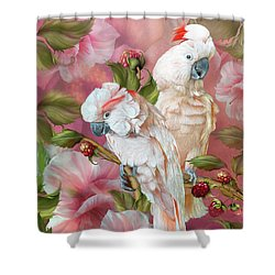 Shower Curtain featuring the mixed media Tropic Spirits - Cockatoos by Carol Cavalaris