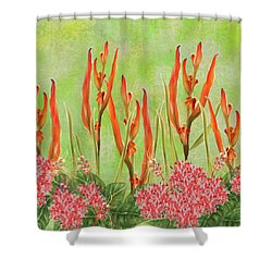 Tropical Floral Print Lime Green Batik Shower Curtain