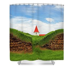 Turf House And Steeple - Iceland Shower Curtain