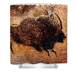 Two Bisons Running Shower Curtain
