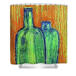 Two Green Bottles Shower Curtain