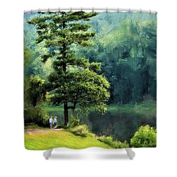 Two Guys And A Pond Shower Curtain